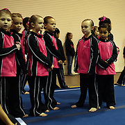 Young gymnasts wait for the start of competition during the 21st American Invitational 2014 competition at the XL Centre. Hartford, Connecticut, USA. USA. 31st January 2014. Photo Tim Clayton