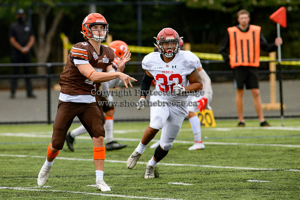 CHILLIWACK, BC - SEPTEMBER 11: Dominic Britton #5 of Okanagan Sun completes a pass during the first quarter against the Westshore Rebels at Exhibition Stadium in Chilliwack, BC, Canada. (Photo by Marissa Baecker/Shoot the Breeze)