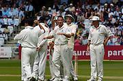 Lord's London, 1st NPower Test   England v New Zealand.  Simon Jones [centre] after taken Stephen Fleming's wicket. 20/05/2004 <br /> [Credit Peter Spurrier Intersport Images}