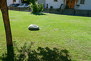 battery powered robotic lawn mower cutting grass