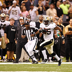 August 27, 2010; New Orleans, LA, USA; New Orleans Saints running back Reggie Bush (25) runs during the first half of a preseason game at the Louisiana Superdome. The New Orleans Saints defeated the San Diego Chargers 36-21. Mandatory Credit: Derick E. Hingle