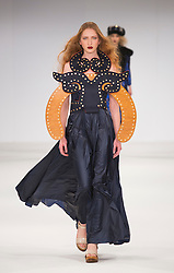 © Licensed to London News Pictures. 31/05/2015. London, UK. Collection by Francesca Harris. Fashion show of UCA Epsom at Graduate Fashion Week 2015. Graduate Fashion Week takes place from 30 May to 2 June 2015 at the Old Truman Brewery, Brick Lane. Photo credit : Bettina Strenske/LNP