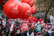 Peoples Assembly March for Health, Homes, Jobs and Education. End Austerity Now! march 16th April 2016 in London, United Kingdom. A view of the thousands of demonstrators marching through the city. 50.000 thousand plus turned out to protest against the Conservative Government and their austerity policies and against tax evasions revealed in the Panama Papers.