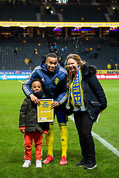 March 23, 2019 - Stockholm, SWEDEN - 190323 Robin Quaison of Sweden is awarded most valuable player of the game for Sweden after the UEFA Euro Qualifier football match between Sweden and Romania on March 23, 2019 in Stockholm..Photo: Joel Marklund / BILDBYRÃ…N / kod JM / 87914 (Credit Image: © Joel Marklund/Bildbyran via ZUMA Press)