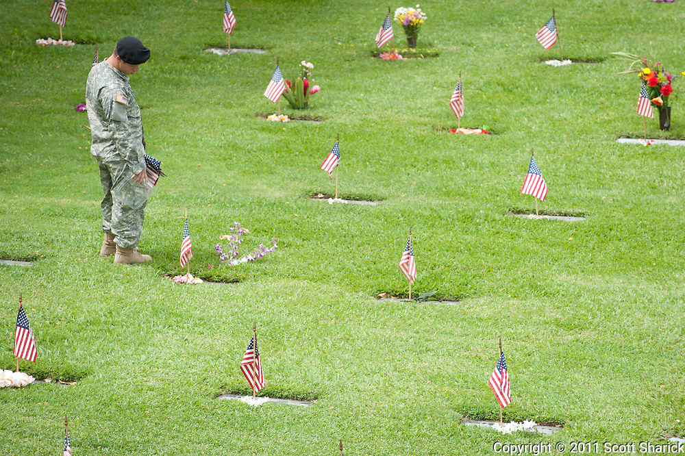 Images taken at the National Cemetery of the Pacific in preparation for Memorial Day 2011.
