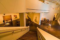 Interior staircases of the Frederic C. Hamilton Building (designed by Daniel Libeskind), Denver Art Museum, Civic Center Cultural Complex, Denver, Colorado USA