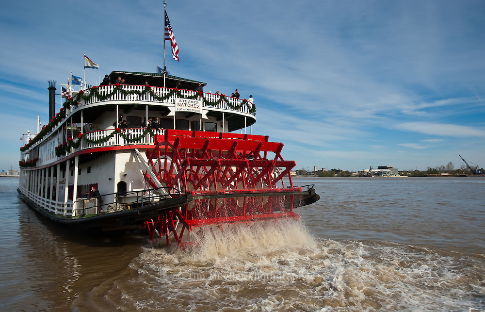 The steamboat Natchez in New Orleans is the last authentic Steamboat to operate on the Mississippi River.