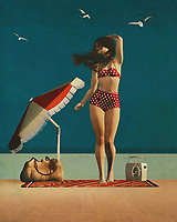 A Retro style painting of a woman on the beach is one of my most favorite art forms because it is so different from the norm. It brings back memories when I was young and I have been really into pin-ups for years now. In Retro style you have pin-up women that are in school, nursing school, or just in their teens. Often times pin-up girls have sports jerseys or college tee on and that is where I love to hang these art forms in my house. I find that the retro art style is so versatile and it comes in many different mediums. You can get these great paintings of women in all kinds of poses in a summer setting.<br /> <br /> Retro style painting of a woman on the beach can come in the form of pencils, paints, charcoal, watercolors, acrylics, and even pencils mixed with paints and pastels. Whatever medium you choose to use it can be your own personal canvas. Just like any other type of art, the more you practice the better you will get. I like to use two mediums to try different painting techniques to see what looks best with my style of art.<br /> <br /> Some of my favorite Retro style painting of a woman on the beach are the ones that focus on her long legs and her high leg straps. I also love to see the way her arms are positioned on the beach pinup art. The way she is posing with her legs is so inviting and romantic. Sometimes it is fun to do retro pin up art to incorporate your personal style into your art. Have fun experimenting and painting your favorite pin ups on canvas.