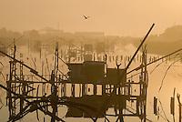 Fisherman's houses on river Bojana, Lake Skadar, Montenegro,
