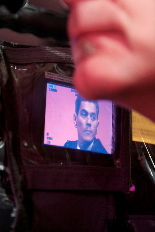 David Miliband is captured on a video camera screen of a cameraman as he awaits to address delegates attending the Labour Autumn Conference in Manchester on 27 September 2010.