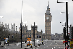 © Licensed to London News Pictures.23/03/2017.London, UK.   Westminster  Bridge is readied to be re-opened the day after a lone terrorist killed 4 people and injured several more, in an attack using a car and a knife. The attacker managed to gain entry to the grounds of the Houses of Parliament, killing one police officer.Photo credit: Peter Macdiarmid/LNP