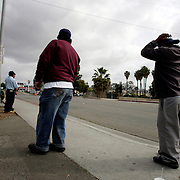 SAN DIEGO, CA, MAY 4, 2007:  Day laborers gather in hopes of finding temporary work in San Diego, California on May 4, 2007. The migrant workers, mostly from Mexico, stand on street corners and in deserted lots where contractors and homeowners come looking for cheap labor. (Photo by Todd Bigelow/Aurora) Please contact Todd Bigelow directly with your licensing requests.