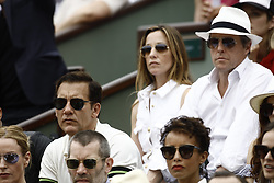 June 10, 2018 - Paris, Ile-de-France, France - Actor Hugh Grant, Anna Eberstein, Clive Owen attend the Men Final of the 2018 French Open - Day Fithteen at Roland Garros on June 10, 2018 in Paris, France. (Credit Image: © Mehdi Taamallah/NurPhoto via ZUMA Press)