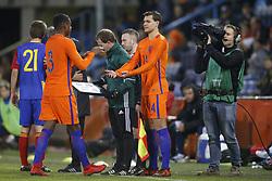 (L-R), Pablo Rosario of Jong Oranje, Justin Hoogma of Jong Oranje during the EURO U21 2017 qualifying match between Netherlands U21 and Andorra U21 at the Vijverberg stadium on November 10, 2017 in Doetinchem, The Netherlands