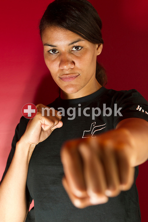 Karateka (Karate fighter) Jessica CARGILL of Switzerland is being pictured during a photo session at the Moevenpick Hotel Zurich-Airport? in Glattbrugg, Switzerland, Thursday, May 5, 2011. (Photo by Patrick B. Kraemer / MAGICPBK)