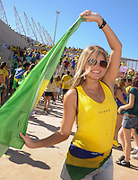 A local Brazilian female fan outside the stadium. Brazil v Mexico. FIFA Confederations Cup, Group match, Castelão Stadium, Fortaleza, Brazil 19th June 2013.