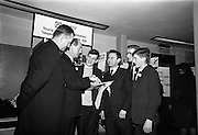 05/01/1965.01/05/1965.5th January 1965.The Aer Lingus Young Scientist Exhibition at the.Manson House..Brendan Buckley (3rd prize Junior Chemistry) from St. Finbarrs College Cork, explaining his experiment on tobacco to Jack Lynch, Minister for Industry and Commerce. Also in the photo is Rev. C. Mc Carthy Principal of St. Finbarrs, Sean O'Riordain Science teacher, Edward Mc Carthy (2nd prize senior chemistry) and Michael O'Regan (2nd prize junior physics) also students of St. Finbarrs College Cork  .