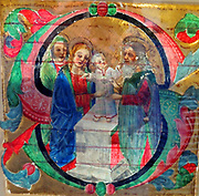 Painting called 'The Boyhood of Christ' 1470. Scene from the boyhood of Christ, possibly being blessed in the Temple