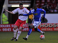 Photo: Tony Oudot/Richard Lane Photography. Walsall v Milwall. Coca-Cola Football League One. 13/12/2008. <br /> Anthony Gerrard of Walsall with Tresor Kandol of Millwall