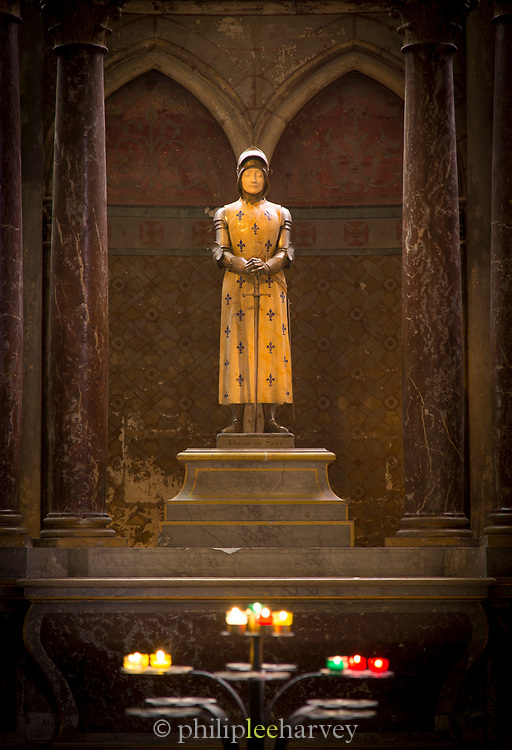 Joan of Arc sculpture. Notre-Dame Cathedral. Reims. Champagne. France
