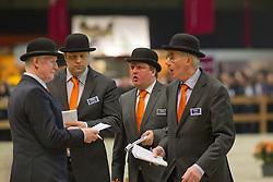 Jury: Van Der Kuil René, Tel Lammert, Van Woudenbergh Reijen, Rootveld henk<br /> KWPN Hengstenkeuring - 's Hertogenbosch 2012<br /> © Dirk Caremans