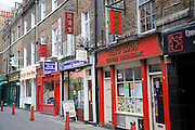 Chinese restaurants and shops, Chinatown, Soho, London, England