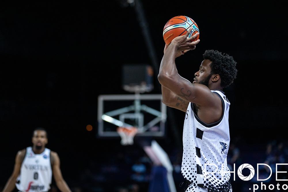 Kelvin Martin (USA/Segafredo Virtus Bologna) taking the shot.<br /> <br /> Basketball Champions League Final Four Antwerp 2019<br /> Semi-Final: Virtus Segafredo Bologna (ITA) vs. Brose Bamberg (GER) : 67-50 <br /> <br /> ©RhodePhoto