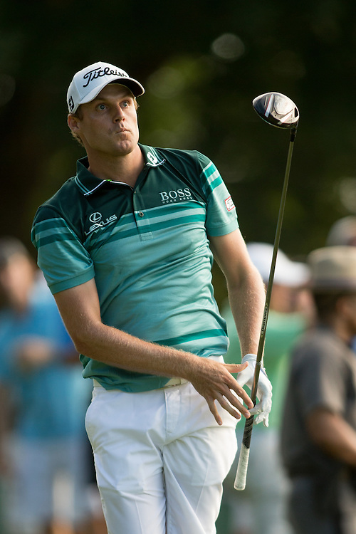 FARMINGDALE, NY - AUGUST 26:  Nick Watney plays a tee shot during the final round of the 2012 Barclays at the Black Course at Bethpage State Park in Farmingale, New York on August 26, 2012. (Photograph ©2012 Darren Carroll) *** Local Caption *** Nick Watney