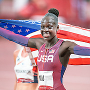 TOKYO, JAPAN August 3:  Gold medal winner Athing Mu of the United States celebrates after winning the Women's 800m Final at the Olympic Stadium during the Tokyo 2020 Summer Olympic Games on August 3rd, 2021 in Tokyo, Japan. (Photo by Tim Clayton/Corbis via Getty Images)