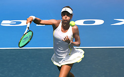 HONG KONG, Oct. 7, 2017  Jacqueline Cako of the United States returns the ball during the singles qualifying first round match against Katherine Ip from Hong Kong of China at 2017 WTA Hong Kong Tennis Open in Hong Kong, south China, Oct. 7, 2017. Jacqueline Cako won 2-0.  wll) (Credit Image: © Lo Ping Fai/Xinhua via ZUMA Wire)