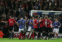 Photo: Lee Earle.<br /> Portsmouth v Manchester United. The FA Barclays Premiership. 15/08/2007.Portsmouth and United players brawl after Cristiano Ronaldo made contact with Richard Hughes.