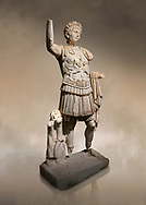 Roman statue of Emperor Trajan. Marble. Perge. 2nd century AD. Inv no . Antalya Archaeology Museum; Turkey. Against a warm art background.<br /> <br /> Trajan Roma Emperor  from 98 to 117 AD. .<br /> <br /> If you prefer to buy from our ALAMY STOCK LIBRARY page at https://www.alamy.com/portfolio/paul-williams-funkystock/greco-roman-sculptures.html . Type -    Antalya     - into LOWER SEARCH WITHIN GALLERY box - Refine search by adding a subject, place, background colour, museum etc.<br /> <br /> Visit our ROMAN WORLD PHOTO COLLECTIONS for more photos to download or buy as wall art prints https://funkystock.photoshelter.com/gallery-collection/The-Romans-Art-Artefacts-Antiquities-Historic-Sites-Pictures-Images/C0000r2uLJJo9_s0
