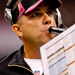 October 3, 2010; New Orleans, LA, USA; New Orleans Saints head coach Sean Payton watches during the first quarter against the Carolina Panthers at the Louisiana Superdome. Mandatory Credit: Derick E. Hingle