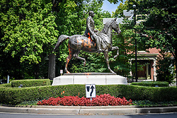 August 17, 2017 - Kentucky, U.S. - A monument dedicated to Confederate soldier John B. Castleman, that stands in the Cherokee Park neighborhood, was vandalized late last week. Louisville Mayor Greg Fischer has announced that the city will review all public monuments, in order to determine whether monuments dedicated to American Civil War confederate soldiers should be removed. (Credit Image: © Bryan Woolston via ZUMA Wire)