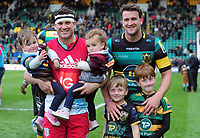 Rugby Union - 2016 / 2017 Aviva Premiership - Northampton vs. Harlequins<br /> <br /> The Dickson brothers, Lee of Northampton (right) and Karl of Harlequins (left) with their children at Franklin's Gardens.<br /> <br /> COLORSPORT/ANDREW COWIE