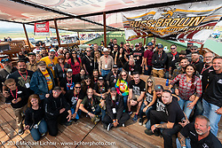 Group photo of Marilyn Stemp's annual Flying Piston Builder Breakfast at the Buffalo Chip during the 78th Sturgis Motorcycle Rally. Sturgis, SD. USA. Sunday August 5, 2018. Photography ©2018 Michael Lichter.