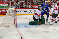 Adam Vay and Kevin Wehrs of Hungary vs Miha Verlic of Slovenia during Ice Hockey match between National Teams of Hungary and Slovenia in Round #3 of 2018 IIHF Ice Hockey World Championship Division I Group A, on April 25, 2018 in Arena Laszla Pappa, Budapest, Hungary. Photo by David Balogh / Sportida