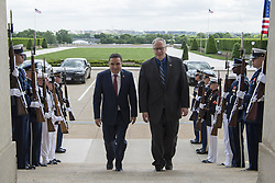 May 2, 2017 - Washington, District of Columbia, U.S. - DSD meets with Tunisia's minister of defense. Deputy Defense Secretary BOB WORK walks with Tunisian Defense Minister FARHAT HORCHANI before a meeting at the Pentagon. DoD photo by Air Force Tech. Sgt. Brigitte N. Brantley. (Credit Image: ? Brigitte N. Brantley/Air Force/DoD via ZUMA Wire/ZUMAPRESS.com)