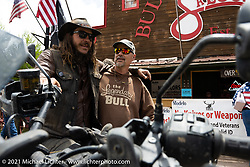 Danger Dan Hardick and his 2-week old Harley-Davidson Pan-America adventure bike in Red River, NM, USA. Sunday, May 30, 2021. Photography ©2021 Michael Lichter.