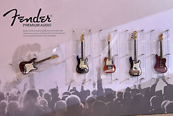 09 February 2017:  Display of Fender guitars <br /> <br /> First staged in 1901, the Chicago Auto Show is the largest auto show in North America and has been held more times than any other auto exposition on the continent.  It has been  presented by the Chicago Automobile Trade Association (CATA) since 1935.  It is held at McCormick Place, Chicago Illinois<br /> #CAS17