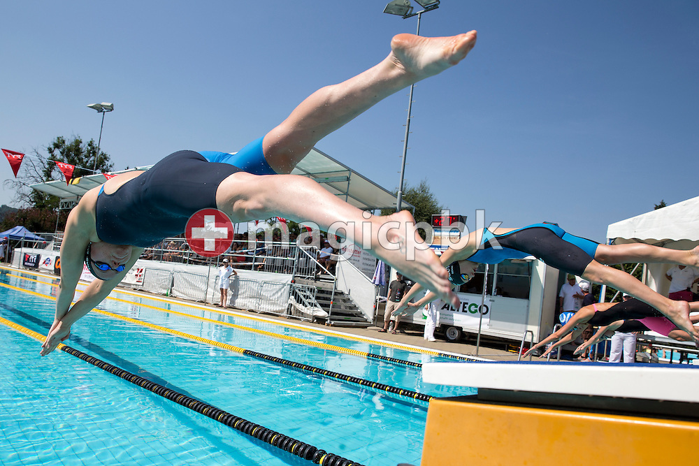 SCUW's Julia HASSLER of Liechtenstein starts to win in the women's 400m Freestyle Final during the Swiss Swimming Summer Championships held at the 50m outdoor pool Wislepark in Worb, Switzerland, Saturday, July 4, 2015. (Photo by Patrick B. Kraemer / MAGICPBK)