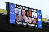 the Crystal Palace score board shows the victims of the Croydon Tram disaster ahead of the game. Premier League match, Crystal Palace v Manchester city at Selhurst Park in London on Saturday 19th November 2016. pic by John Patrick Fletcher, Andrew Orchard sports photography.