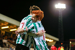 Jarrett Rivers of Blyth Spartans celebrates with Michael Richardson after scoring the winning goal to make it 1-2 and send his non league side through to the next round of the FA Cup - Photo mandatory by-line: Rogan Thomson/JMP - 07966 386802 - 05/12/2014 - SPORT - FOOTBALL - Hartlepool, England - Victoria Park - Hartlepool United v Blyth Spartans - FA Cup Second Round Proper.