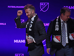 David Beckham, former Major League Soccer player, celebrates the award of a Miami expansion team at an announcement at the Adrienne Arsht Center. on January 29, 2018 in Miami, FL, USA. Photo by Susan Stocker/Sun Sentinel/TNS/ABACAPRESS.COM