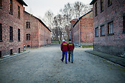 Two workes at the Auschwitz Nazi concentration camp. It is estimated that between 1.1 and 1.5 million Jews, Poles, Roma and others were killed in Auschwitz during the Holocaust in between 1940-1945.
