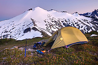 Afterglow over alpine camp with Ruth mountain in the disatnce, North Cascades Washington