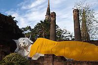 Reclining Buddha at Wat Yai Chai Mongkhan - Wat Yai Chai Mongkhon or the Great Monastery of Auspicious Victory was also known by other names: Wat Pa Kaeo, Wat Chao Phraya Thai and Wat Yai Chaya Mongkhon.  The chedi of Wat Yai Chai Mongkhon is one of the landmarks of Ayutthaya.