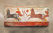 Lucanian fresco tomb painting of a chariot race . Paestrum, Andriuolo. 3rd Century BC .<br /> <br /> If you prefer to buy from our ALAMY PHOTO LIBRARY  Collection visit : https://www.alamy.com/portfolio/paul-williams-funkystock - Scroll down and type - Paestum Fresco - into LOWER search box. {TIP - Refine search by adding a background colour as well}.<br /> <br /> Visit our ANCIENT GREEKS PHOTO COLLECTIONS for more photos to download or buy as wall art prints https://funkystock.photoshelter.com/gallery-collection/Ancient-Greeks-Art-Artefacts-Antiquities-Historic-Sites/C00004CnMmq_Xllw