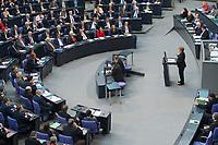 17 FEB 2016, BERLIN/GERMANY:<br /> Angela Merkel (R), CDU, Budneskanzlerin, waehrend ihrer Regierunsgerklaerung der zum Europaeischen Rat, Plenum, Deutscher Bundestag<br /> IMAGE: 20160217-03-022<br /> KEYWORDS: Debatte, Rede, speech