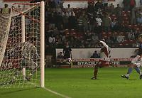 Photo: Mark Stephenson.<br /> Walsall v Aston Villa. Pre Season Friendly. 07/08/2007.Walsall's Paul Hall scores for 1-1